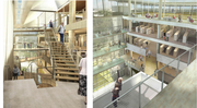 Inside, the building will feature a several story open atrium. The floorplan includes several reading areas as well as spaces designed with children and teens in mind.