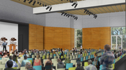 The building also features several public meeting areas and larger presentation spaces. A bookstore and cafe will make the building mixed-use and encourage pedestrians to stop by.