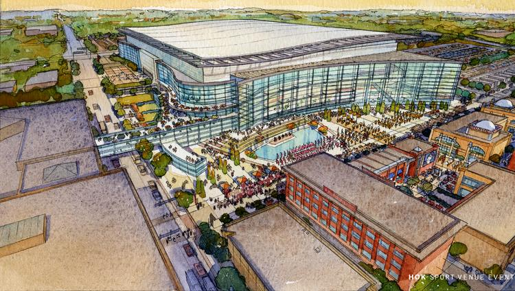 A rendering of one of the previously discussed multipurpose facilities near the BJCC.