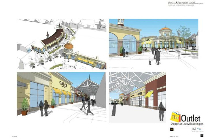 This brochure shows the concept for the SImpsonville, Ky., outlet mall that is scheduled to break ground next week.