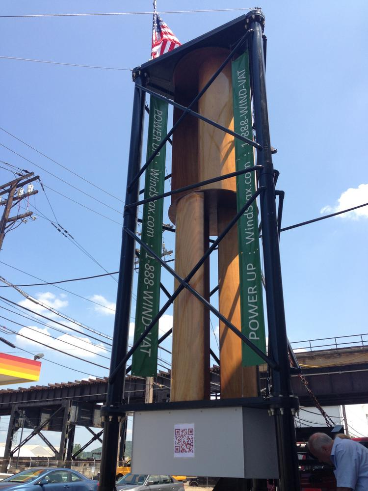This 20-foot-tall vertical wind turbine sits in front of WindStax at 3220 Smallman St. in Pittsburgh. WindStax makes these turbines in 20-foot, 40-foot and 53-foot units that are all self contained. The turbine can work in changing wind direction and with speeds as low as 3 mph.