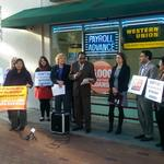Coalition Against Payday Predators holds protest outside check cashing store