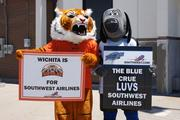 The Wichita Wild and Thunder mascots were out in support of Southwest's arrival.