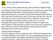 A Lush representative supported workers who briefly joined a Black Lives Matter protest at the Mall of America.