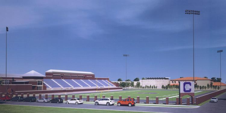 A rendering of Capital University's stadium lights, a proposed $490,000 project.