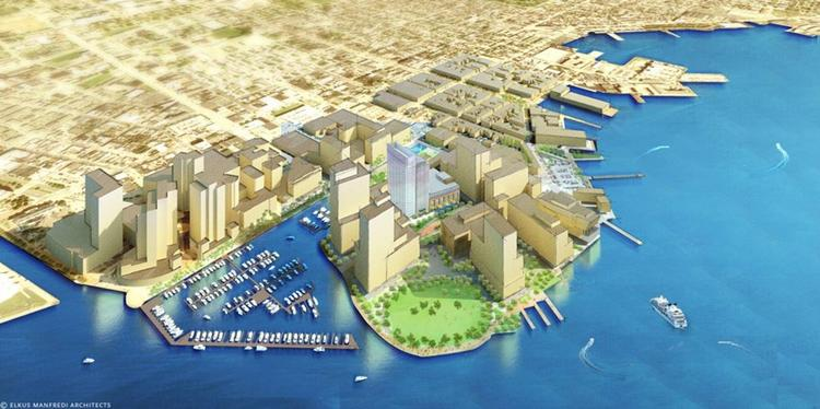 An artist's rendering of a completed Harbor Point, which sets between Harbor East and Fells Point.