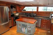 The galley of the 83-foot Christine K, owned by Jim and Christine Warjone, resembles a farm kitchen.