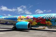 A closeup of a Boeing 737-800 painted with the winning design by Kaiser High School Student Aaron Nee after the plane landed at Honolulu International Airport.