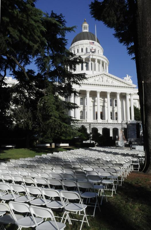 "Thousands of health care providers, health plan execs and health care workers are expected to participate in what's being billed as the ""largest ever health rally at the state Capitol"" on Tuesday. This is the scene for set up Monday evening."