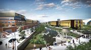The Studio Charlotte proposal calls for a waterway and pedestrian bridge at the Eastland site.