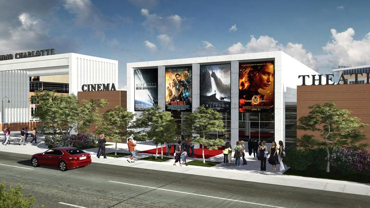 The proposed Studio Charlotte redevelopment of the former Eastland Mall site includes a movie studio, sound stages and a film school. This rendering shows the planned Gateway and Cinema Theater on Central Avenue. Flip through these slides for a look at more renderings of the project.