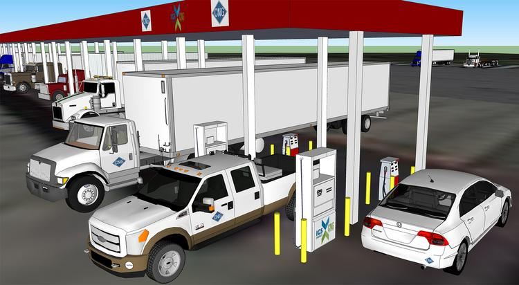 A rendering of IGS Energy's planned CNG fueling station at a Mr. Fuel truck stop just off Interstate 80, near Youngstown.