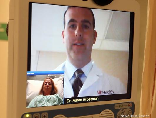 This is how Dr. Aaron Grossman appears on the screen as he assesses a patient using UC Health's TeleStroke robots.