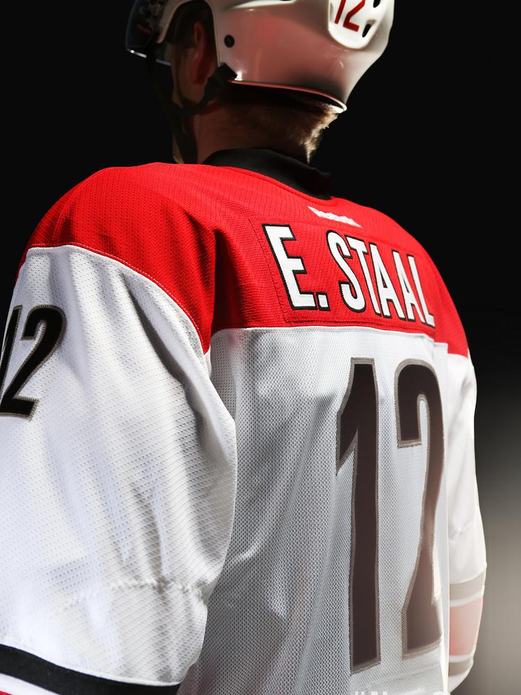 Eric Staal modeled the new Hurricanes jerseys in the offseason. He and his brothers are now title sponsors of a PGA Tour Canada event in Thunder Bay through their foundation.