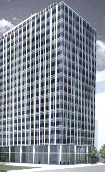 Trammell Crow Co. on Tuesday acquired a downtown Bellevue property where it is planning an office tower. This rendering is from the company's early application to the city.