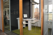 Private meeting rooms offer employees at Glumac Inc. space to meet.