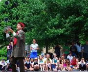 Cast members from Circus Flora visited City Garden on June 4.