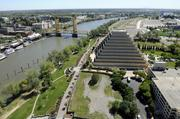 You can see a lot of stuff from here. I shot this series of photos from on top of the CalSTRS building in West Sacramento. This is a view of the Ziggurat building and Tower Bridge in West Sacramento.
