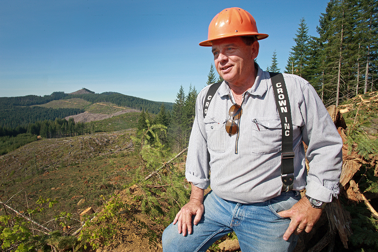 Bob Luoto, who owns Cross & Crown Inc. with his son Kirk, at the Last Ride logging site above Hagg Lake. Cross & Crown is a logging firm  that contracts with forest owners such as Stimson Lumber Co. to harvest trees.  Business is on the rebound as U.S. housing starts revive, he says.