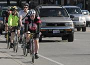 Bike commuters form a steady line along Fremont Avenue North a popular route into downtown for cyclists.
