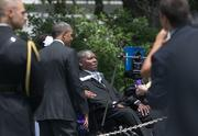 President Barack Obama meets with Baltimore Ravens executive O.J. Brigance, who is battling ALS, after a ceremony to recognize the Super Bowl champions on the South Lawn of the White House on Wednesday afternoon.
