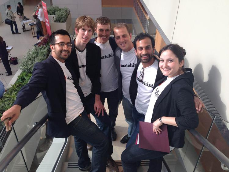 The Matchist team taking the company to victory in the Booth School's New Venture Challenge included (left to right) Rishi Kumar, Tim Jahn, Elan Mosbacher, Itamar Bar-Zakay, Prem Panchal and Stella Fayman.