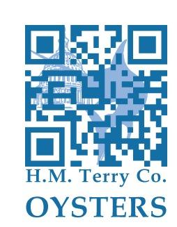 A QR code that takes users to a sourcing page about H.M. Terry oyster company.