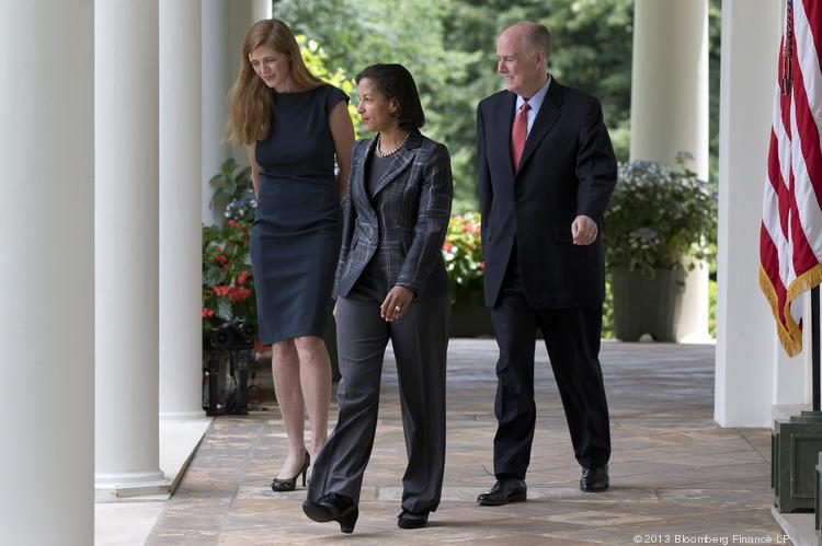 Samantha Power, senior director of multilateral affairs with the U.S. National Security Council and President Barack Obama's nominee as ambassador to the United Nations, left to right, Susan Rice, U.S. ambassador to the United Nations and U.S. President Barack Obama's nominee as national security advisor, and Tom Donilon, national security advisor, walk out of the Oval Office for the nomination announcement in the Rose Garden of the White House in Washington, D.C., on Wednesday.