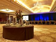 The ballroom inside the Royal Sonesta Houston. Bass Hotels and Resorts acquired two acres of land just to the north of the property in 2001 for a 48,000-square-foot conference center, which included a 9,000-square-foot exhibit hall and a new parking garage. The space also included 20 meeting and banquet rooms, with a fully furnished boardroom located on the first and second floors.