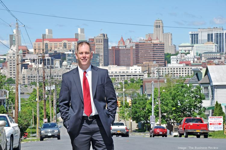 A selling point for the city of Rensselaer is its view of, and proximity to, downtown Albany. City planner Charles Moore has a vision for high-end condos along the riverfront, and other developments to revive the city.