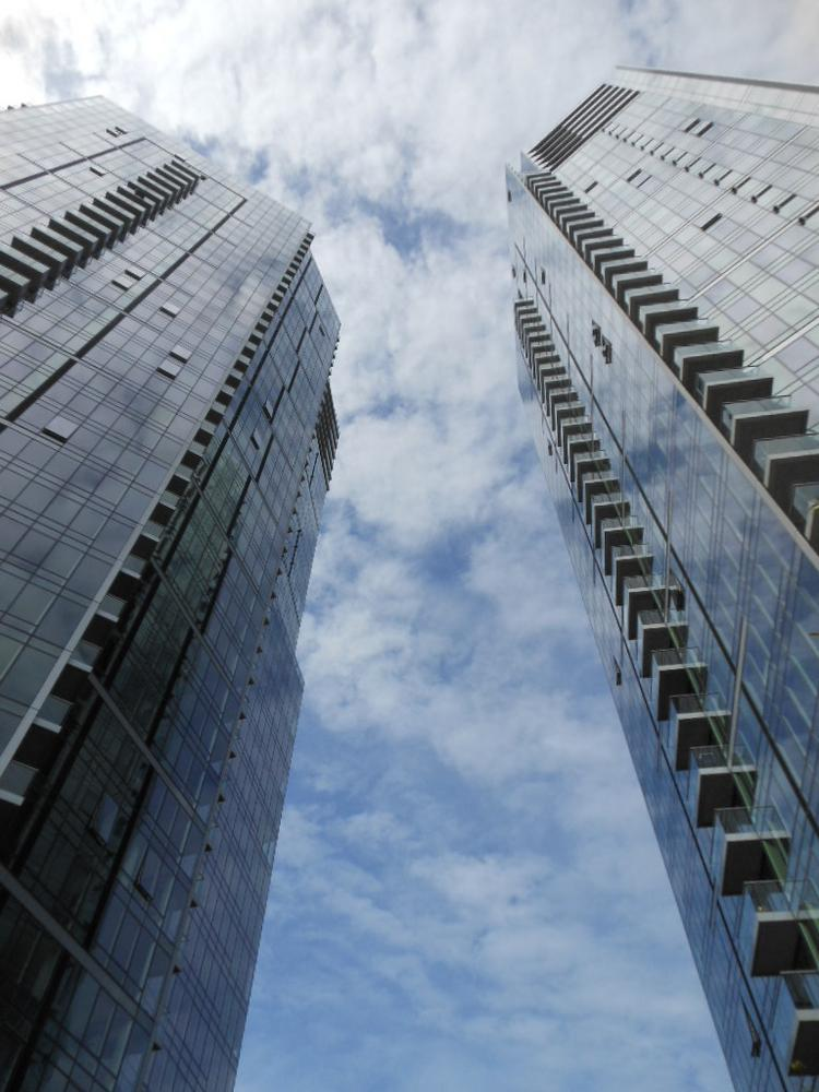 From the outside, visitors can see the two towers of Bellevue Towers, a LEED gold-certified project with 539 condos in Bellevue. Two penthouses with about 6,500 square feet each are among units still available.