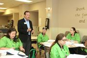 Tim Marks, president Metropolitan Ministries, meets with the culinary arts program students.