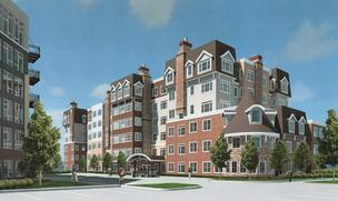 A rendering of the senior housing building (on right) and apartment complex (left) in the proposed Three-Nine-Four project in Golden Valley.