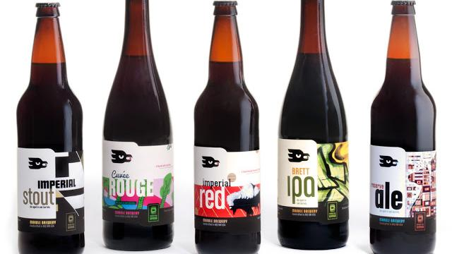 Marble's new bottle labels feature artwork by New Mexico artists. Artists featured include, left to right: Imperial Stout by Raymundo Sesma; Cuvée Rouge by Ian Kerstetter; Imperial Red by Frank Buffalo Hyde; Brett IPA by Queens Underestimated CREW; and Reserve Ale by Thomas Christopher Haag.