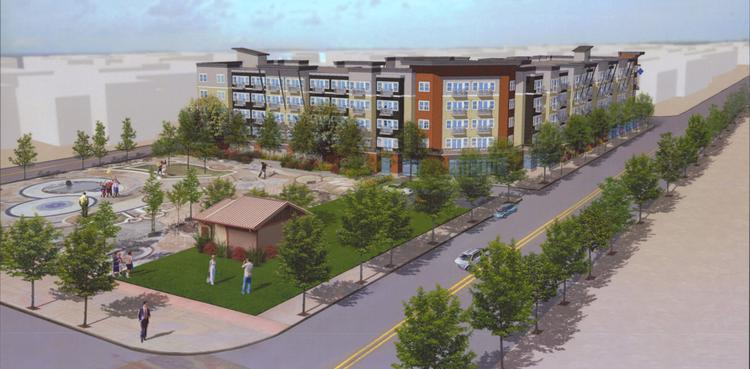 Goodman Real Estate plans to develop a 176-unit apartment and retail project called the Platform in downtown Kent.