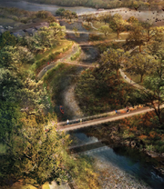 Here's the view from above. Design team Michael Van Valkenburgh has envisioned several bridges spanning the creek near its outflow into Lady Bird Lake.