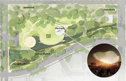 Several areas along the creek will widen into larger parks. One of the most prominent, Waterloo Park, will feature a public space anchored by a structure called The Poppy. The venue could be used to host events or public gatherings.