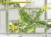 This park, along East Cesar Chavez and Red River streets, seeks to revitalize a tired public space by incorporating it into the larger Waller Creek design.
