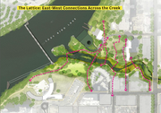The design, unveiled today at city hall, emphasizes connectivity between the east and west sides of the creek.