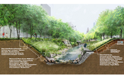 The construction along the creek is designed to be sustainable and incorporate native species.