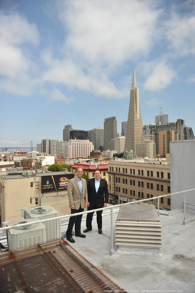 Jeff Lee, left, and Chris Wight on the roof of 644 Broadway, for which they paid $8.5 million. The partners plan to renovate the property and attract a diverse tenant mix.