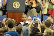 President Obama answers questions from the crowd Mooresville Middle School.
