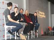 Ryan Sullivan, Chris Bennett, Sean Kennedy, Lindsey Kimball and Daniel James Scott on a panel at Tampa Bay StartUp Week on Friday.