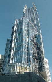 """1180 Peachtree was a LEED first, known for its elegant glass """"fins."""""""