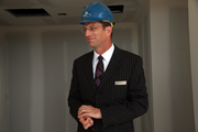 Doug Brecht, director of sales and marketing for the Hilton Portland & Executive Tower, tours construction of the hotel's 23rd floor Skyline events space.