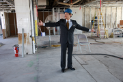 Tracy Marks, general manager of the Hilton Portland & Executive Tower, tours the 23rd floor, which is being renovated into a skyline meeting space.