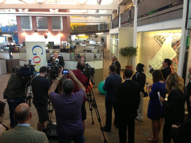 Google's Andrew Moore, vice president of Engineering and head of the Pittsburgh office, addresses reporters.
