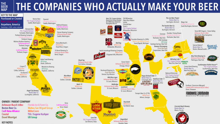 Map Which Mega Brewery Owns Your Favorite Craft Beer The