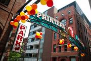 Printers Alley was decorated with ballons, part of the change in scenery for CMA Music Festival.
