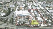 An overview of the project site in relation to downtown San Jose shows the two-acre parcel's relative size.